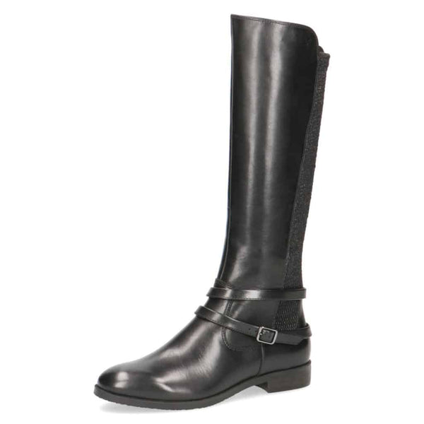 Caprice Black Slim Calf Long Flat Boot