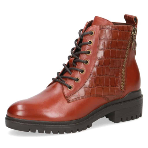Caprice Croc/Leather Lace-up Boot
