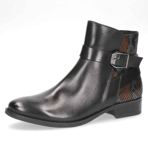 Caprice Black Flat Ankle Boot