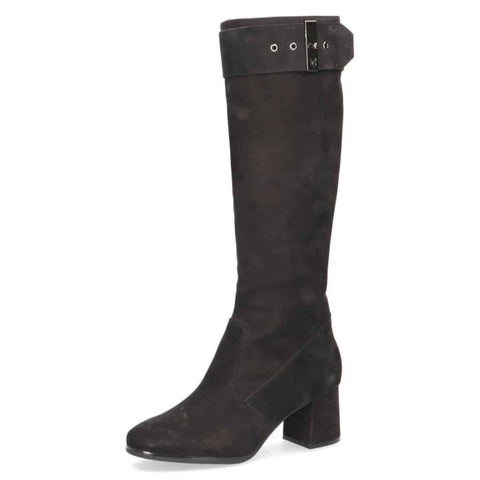 Caprice Suede Black Long Boot