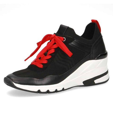 Caprice Red/Black Lace-Up Casual Trainer
