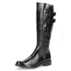 Caprice Black Patent Twin Buckle Long Boot