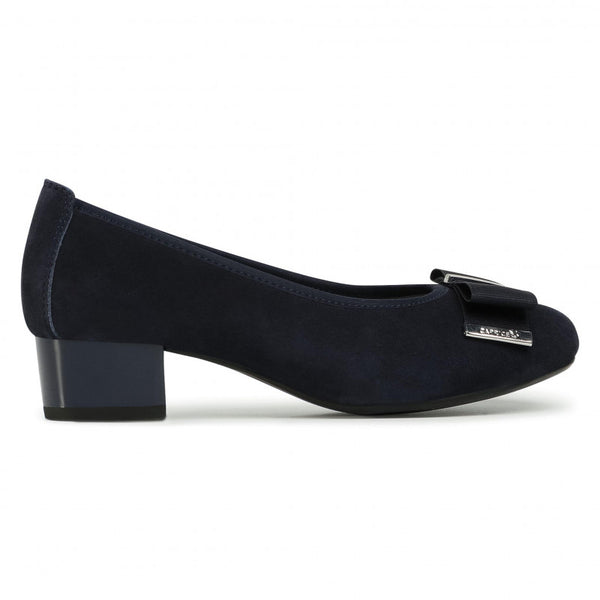 Caprice Navy Ballet Style Court Shoe