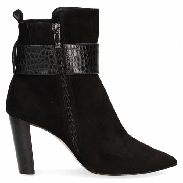 Black Suede High Heeled Ankle Boot