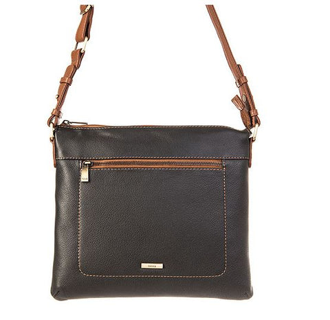 Nova Leathers Black & Tan Large Cross-Body Bag