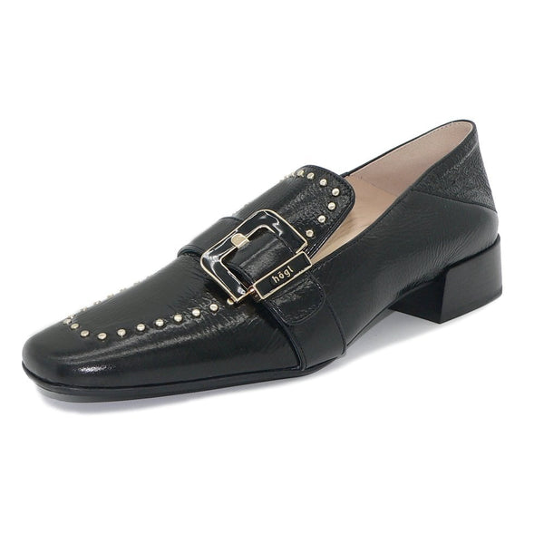 Hogl Patent Leather Buckle Loafers in Black