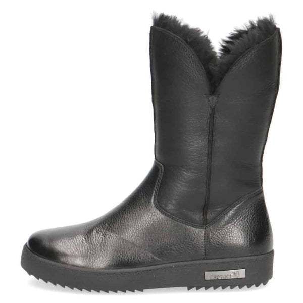Caprice Black Sheepskin Lined Tall Ankle Boot