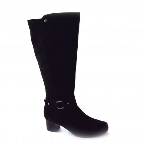 Caprice Black Suede Low Heel Long Boot
