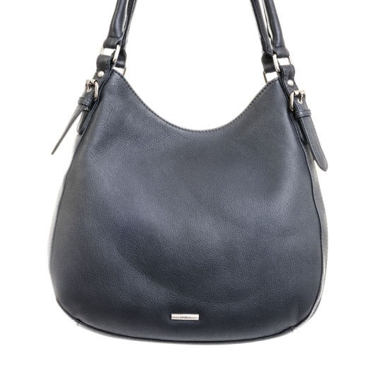 Nova Leather Navy Shoulder Twin Strap Bucket Bag