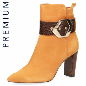 Mustard/Choc Suede High Heeled Ankle Boot