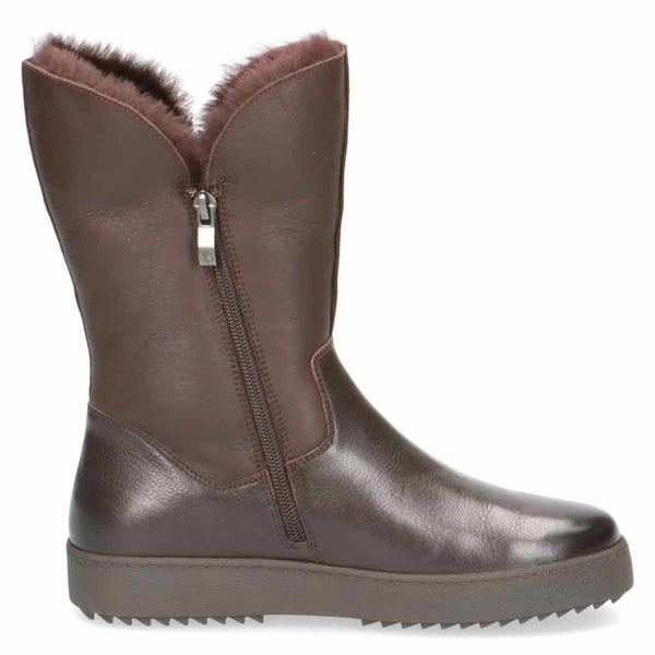 Caprice Brown Sheepskin Lined Tall Ankle Boot