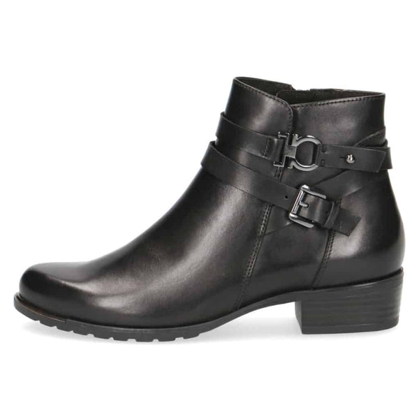 Caprice Black Leather/Suede Trim Ankle Boot