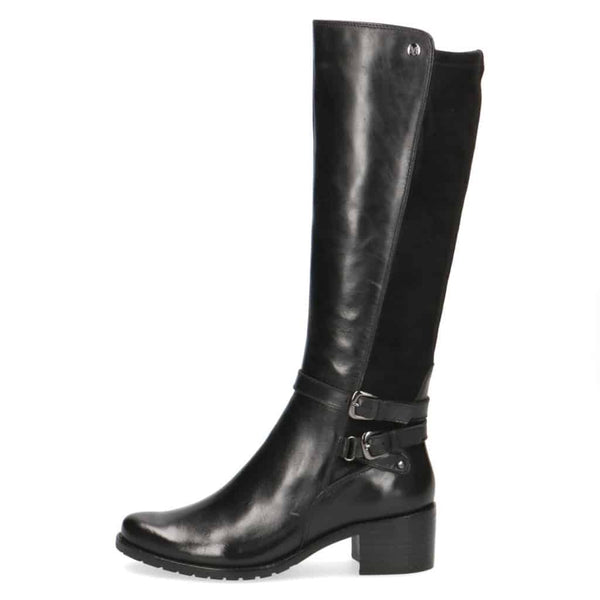 Caprice Black Twin Buckle Long Boot