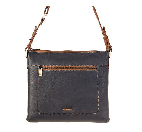Nova Leathers Navy & Tan Large Cross-Body Bag