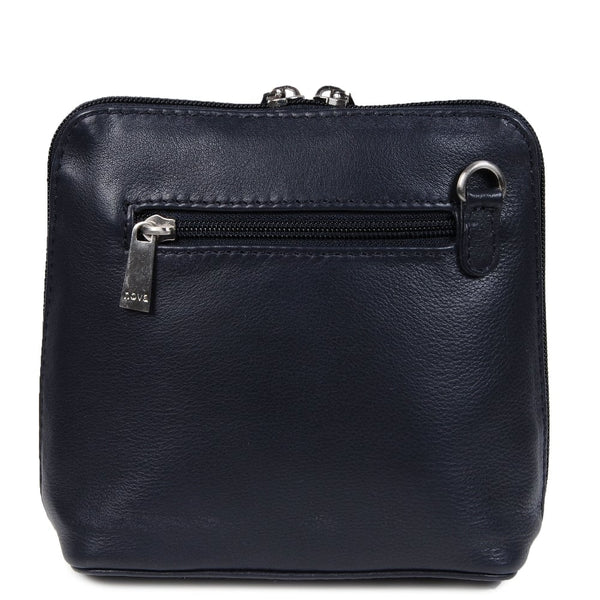 Nova Leathers Navy Small Square Zip Top Cross Body Bag