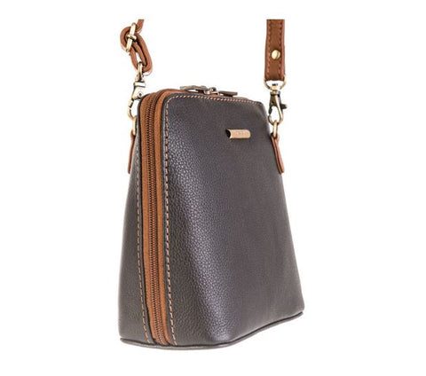 Nova Leathers Black & Chestnut Small Square Zip Top Cross Body Bag