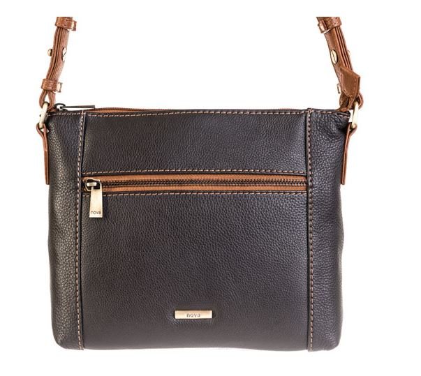 Nova Leathers Small Black & Chestnut Cross Body Bag