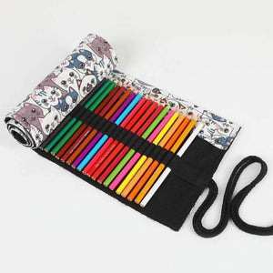 Fabric Roll Up Pencil Case- Kitties