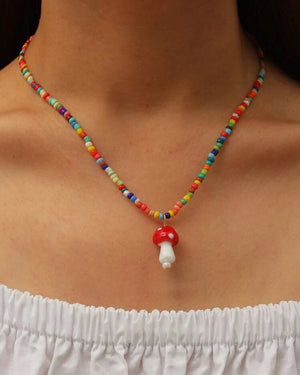 Mama Mushroom Beaded Necklace