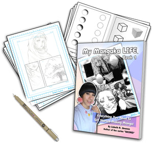 My Mangaka LIFE, book 1- Pen, A4 Paper, & Worksheets