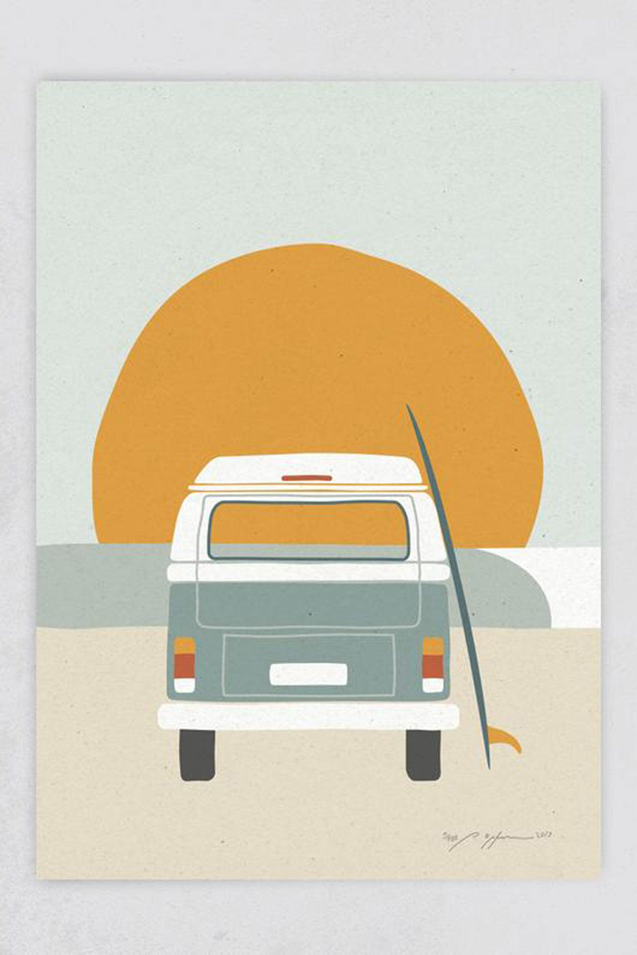 Surf Art Print BullI am Strand Pia Opfermann
