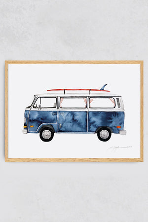 Surf Art Print Surf Bus Pia Opfermann