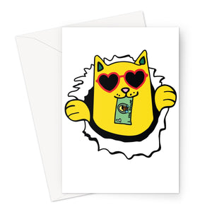Skateboard Money Cat - Greeting Card