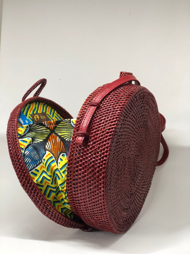 Fatou Red Rattan Bag