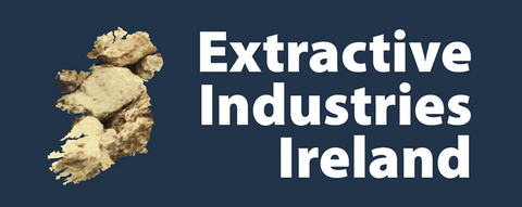 Extractive Industries Ireland logo and a rock