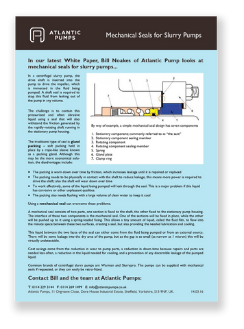 Our Mechanical Seals for Slurry Pumps Whitepaper
