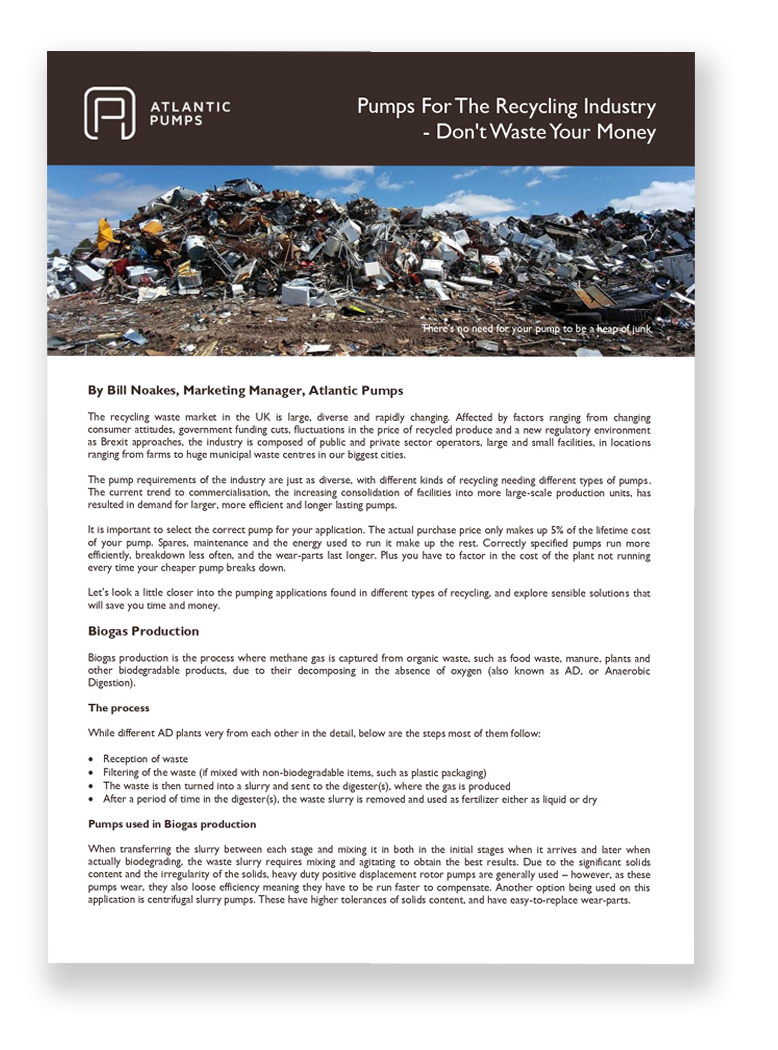 Pumps for the Recycling Industry White Paper