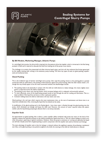 Sealing Systems for Centrifugal Slurry Pumps Whitepaper