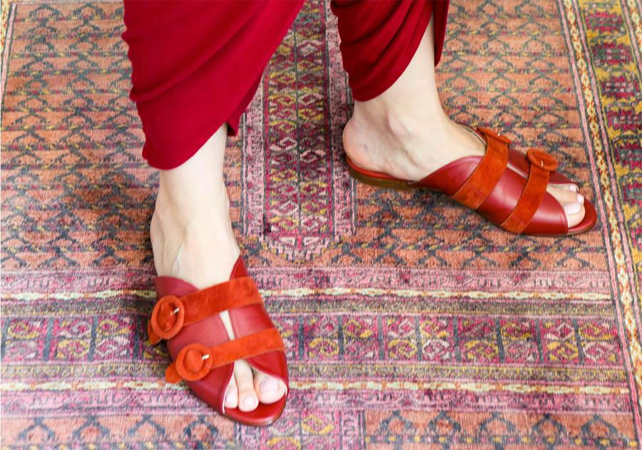 red genuine calfskin leather sandal