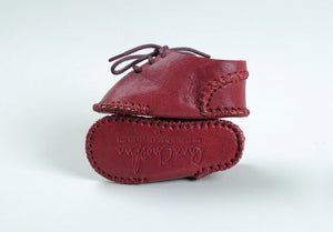 Mini Medan Baby Moccasin | Crimson Calfskin Leather