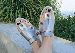 Roko metallic slide genuine leather sandal