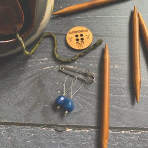 Blue Stone Stitch Markers