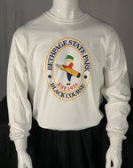 Load image into Gallery viewer, Bethpage Black Course logo displayed on white long sleeve tee