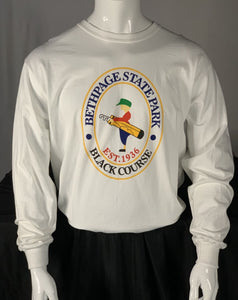 Bethpage Black Course logo displayed on white long sleeve tee