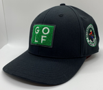 Load image into Gallery viewer, Black golf cap with square turf patch on front and Bethpage Black Course logo on right side