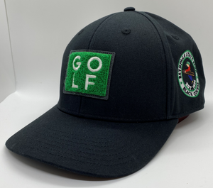 Black golf cap with square turf patch on front and Bethpage Black Course logo on right side