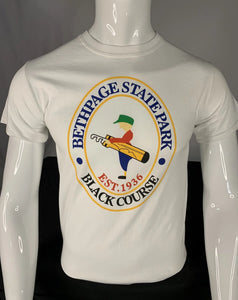 Bethpage Black Course logo displayed on white short sleeve tee