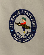 Load image into Gallery viewer, Bethpage Black Course logo on the TaylorMade FlexTech Blue and Light Gray Stand Bag