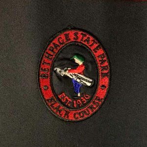 Bethpage Black Course logo displayed on the red Dunning Zip Up
