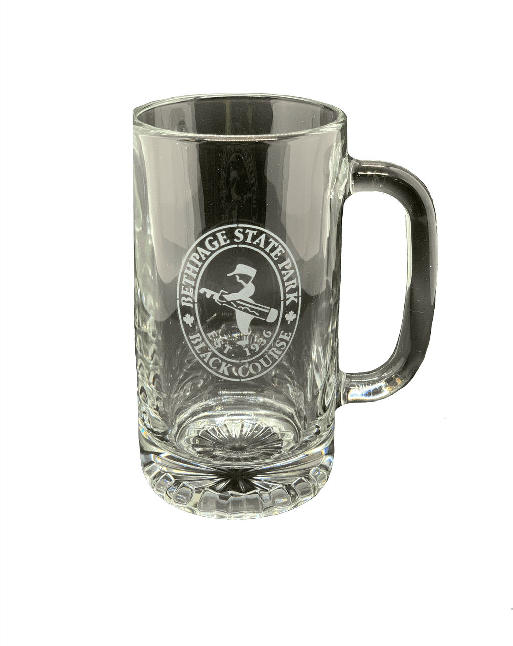 Bethpage Black Course logo engraved on the front of the stein glass