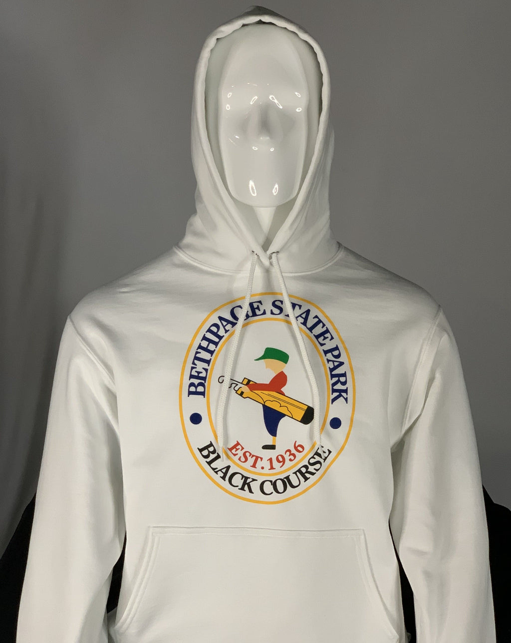 White Sweatshirt Hoodie with the Bethpage Black Course logo