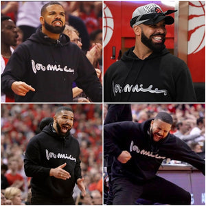 Drake wearing 100 miles hoodie in NBA eastern cup final 2019