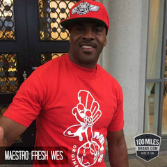 Maestro Fresh Wes wearing 100 Miles Brand