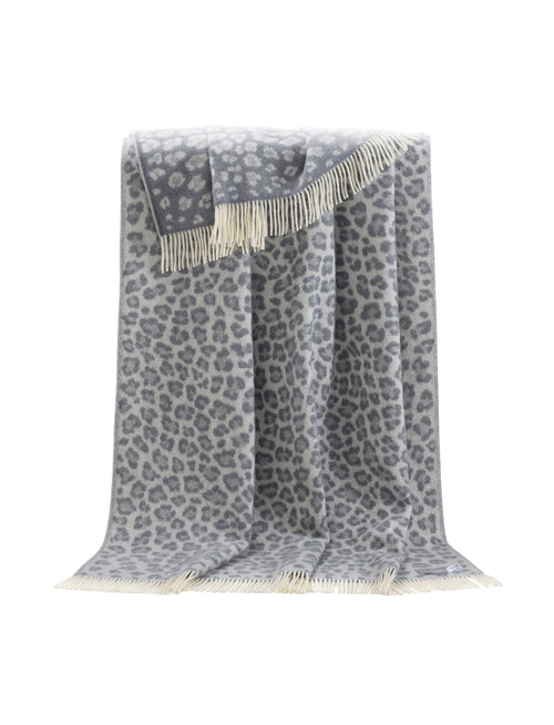 Grey Leopared pure wool throw