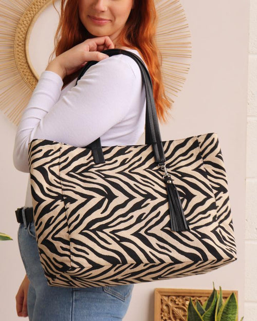 Zebra stripe tote bag