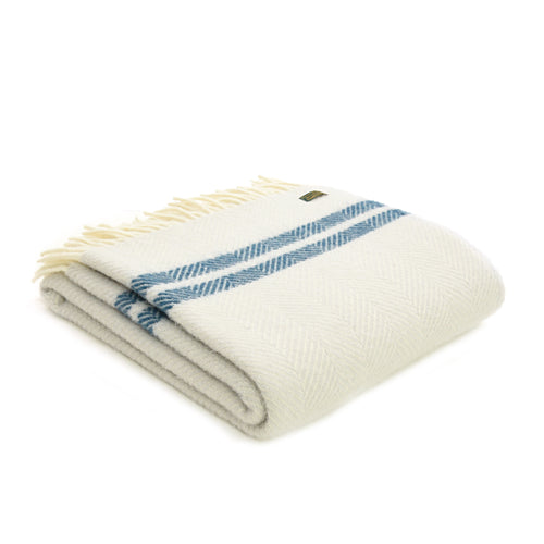 Pure New Wool Throw Double Stripe Fishbone